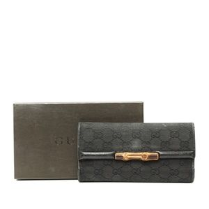 Auth Gucci Bamboo Canvas Long Wallet Wh #2263G55
